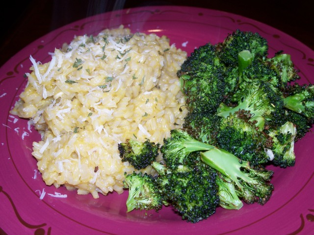 risotto and roasted broccoli