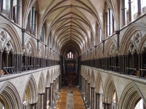 looking down the nave from the first stop on the tower tour