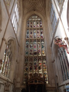 some stained glass at the abbey