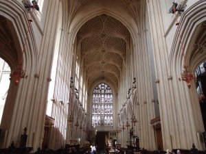 looking down the nave from the front altar area