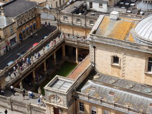 overlooking the Roman baths