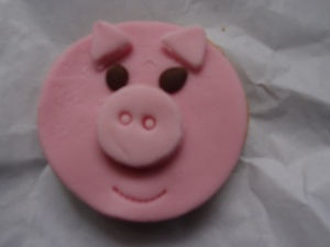 a pig sugar cookie from a local bakeshop
