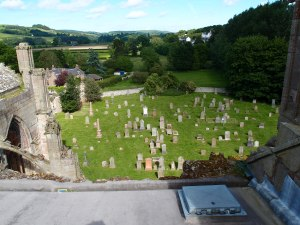 looking down on the graveyard from the tower