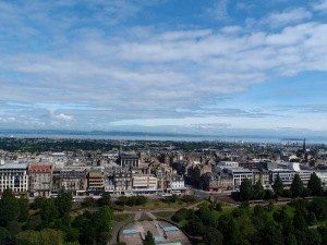 overlooking the city of Edinburgh from high upon Castle Rock