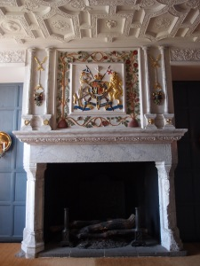 One of the restored fireplaces inside the royal apartments.