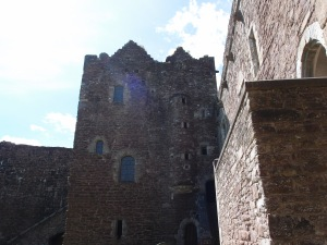 looking up at the tower from the courtyard