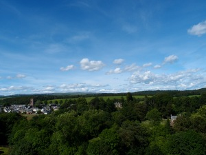 A view from the ramparts, nothing but Scottish countryside and sparking blue skies.