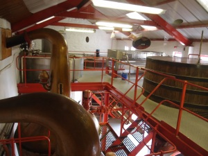overlooking part of the interior's second floor with the tops of the wash backs and stills