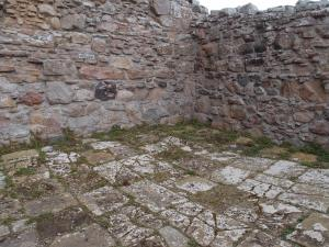 stone floors and walls still remain in village structures